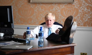 Boris Johnson in his temporary office inside Admiralty House, London