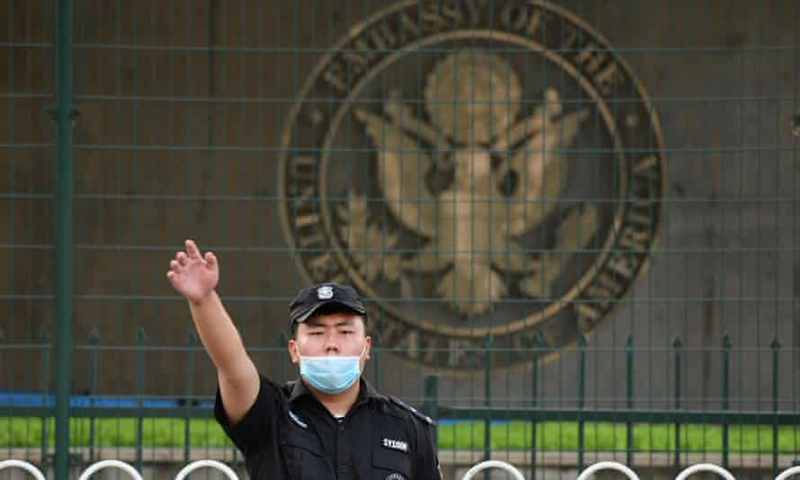 A Chinese security guard outside the US embassy in Beijing