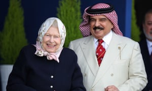 Queen Elizabeth II with the King of Bahrain at the Royal Windsor horse show.
