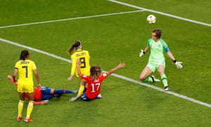 Kosovare Asllani of Sweden fires home from close range.