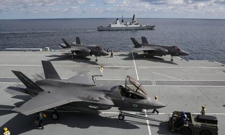F-35 Lightning jets on HMS Queen Elizabeth in October  2019.