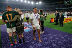 Manu Tuilagi trudges off the field as England lose to South Africa in a second final.