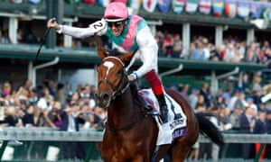 Enable and Frankie Dettori winning the Breeders' Cup Turf on her last run.