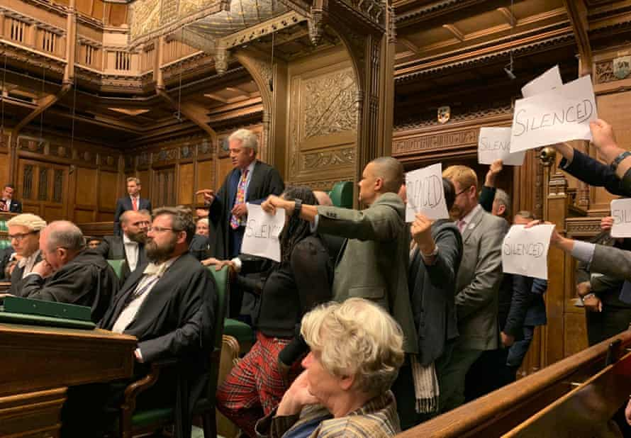 MPs protest in the House of Commons as parliament is suspended.