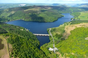 An aerial view of the Ladybower Reservoir, Upper Derwent Valley, Derbyshire