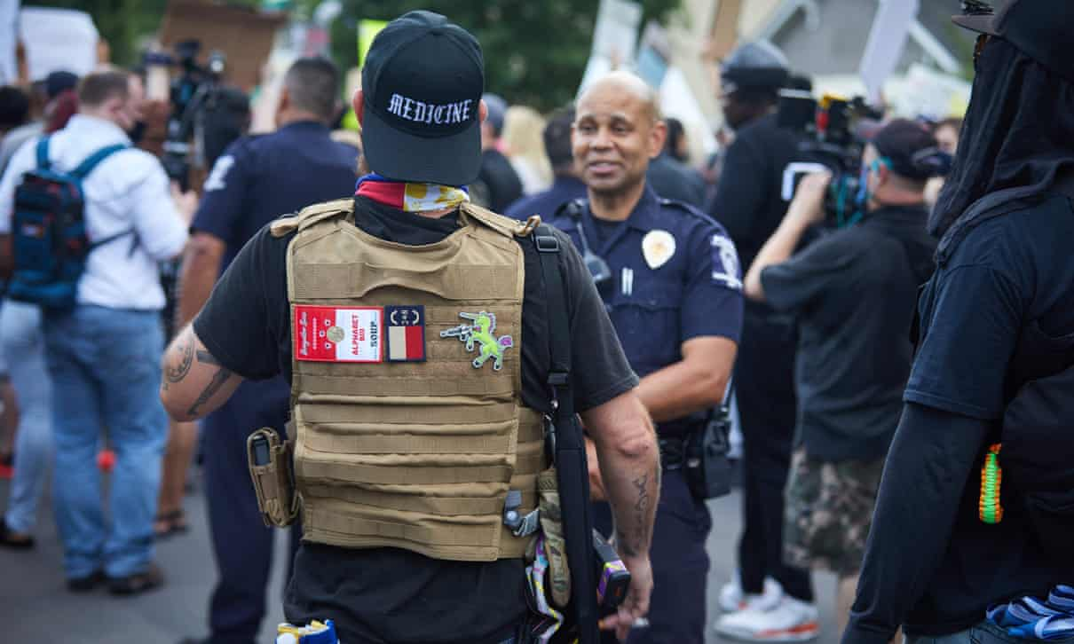 A member of the far-right militia Boogaloo Bois in Charlotte, North Carolina, on 29 May. Photograph: Logan Cyrus/AFP/Getty Images