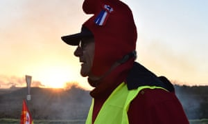 A gilets jaunes protester at Allonnes near Le Mans, northwestern France.