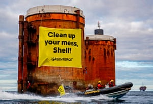 Greenpeace activists from the Netherlands, Germany and Denmark board oil platforms in Shell's Brent field in the North Sea, October 2019.