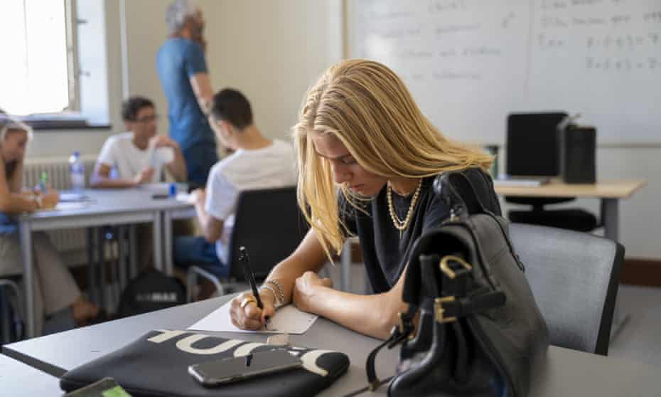 An older pupil at work in a classroom in Stockholm, August.
