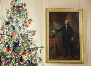 Decorations in the East Room at the White House.