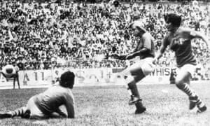 Susanne Augustesen, centre, scores Denmark's - and her - first goal goal against Mexico in the final at the Azteca Stadium