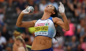Katarina Johnson-Thompson recorded her best distance in the shot put in the European Championship heptathlon in Berlin.