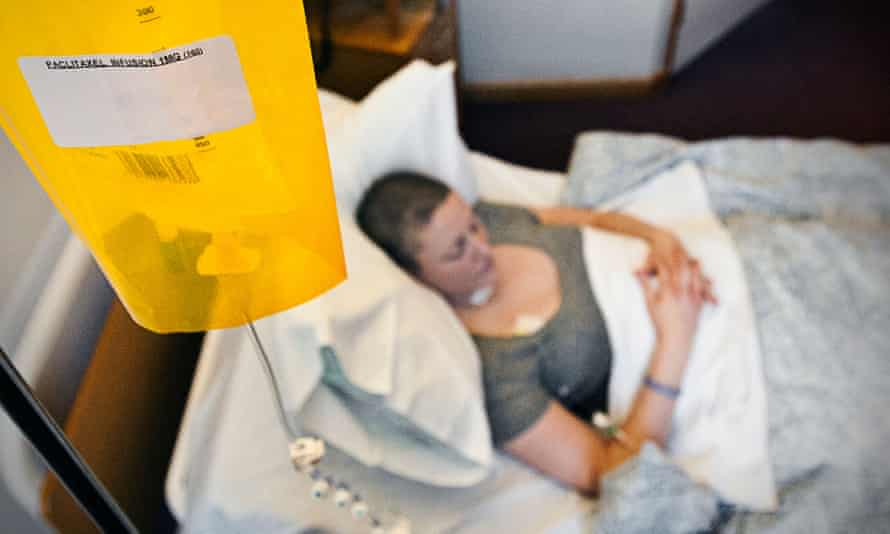 A woman receiving chemotherapy