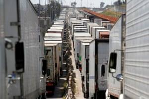 Tijuana, Mexico: Trucks wait for border customs control