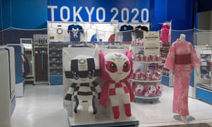 Tokyo 2020 Olympics mascots are displayed in a closed Olympics souvenir shop at Narita Airport on 17 April 2020 in Tokyo, Japan.