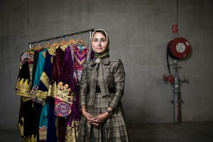 Fashion designer Anjilla Seddeqi at the runway and exhibit for Fashions of Multicultural Australia in Sydney