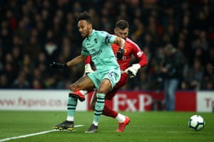 Ben Foster's clearance hits the ankle of Pierre-Emerick Aubameyang for Arsenal's opening goal!