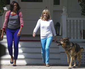 Former US first lady Michelle Obama and now-first lady Jill Biden with Champ Biden in 2012.Champ has since been joined in the Biden household by a much younger dog, Major, who just became the first rescue dog to inhabit the White House.