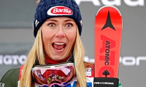 Mikaela Shiffrin looks delighted on the podium after her win on Sunday
