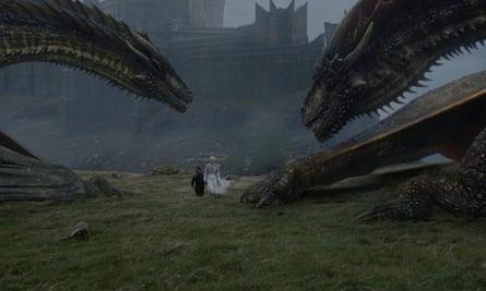 Peter Dinklage as Tyrion Lannister and Emilia Clarke as Daenerys Targaryen