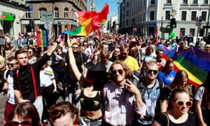 The Riga pride parade attracts participants from across the Baltic region.