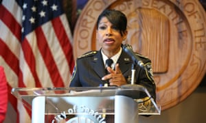Seattle police chief Carmen Best announces her resignation on 11 August.