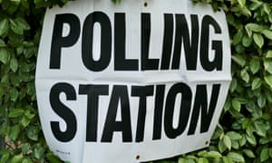 A sign for a polling station in Reading