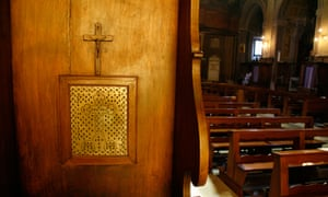 Confession box in church in Rome, Italy