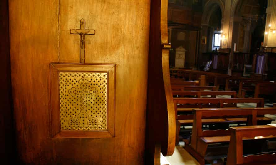 Confession box in church in Rome, Italy