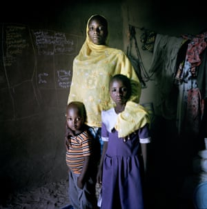 Amina with her children, Aichadou and Ibrahim.
