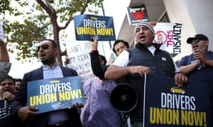 Rideshare drivers demonstrate in favor of AB5 in San Francisco on Tuesday.