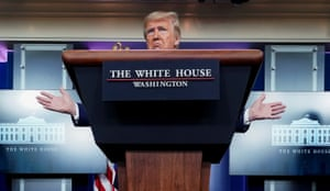Washington, US Donald Trump leads the daily coronavirus taskforce briefing at the White House