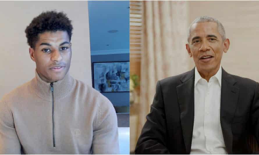 Rashford spoke to the former US president Barack Obama in a Zoom call in May