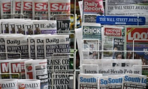 Newspapers outside a newsagent
