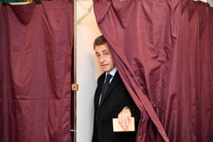 Nicholas Sarkozy, the former French president who hopes to return to the Élysée Palace, leaves a polling booth as his Les Républicains party voted to choose its candidate for the 2017 presidential election