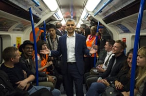 Sadiq Khan boards a Victoria line train at the launch of the night tube service in August.