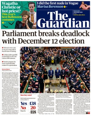 Guardian front page, Wednesday 30 October 2019