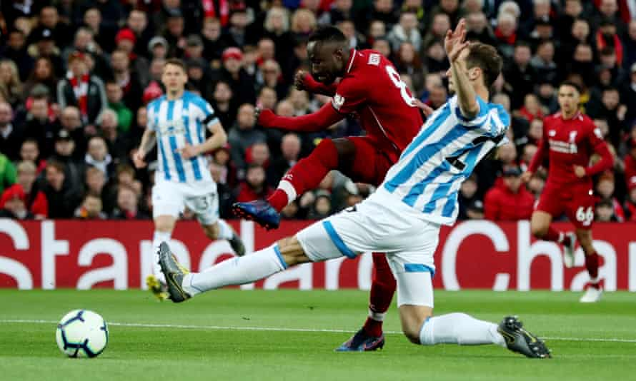 Naby Keïta scores for Liverpool against Huddersfield in April 2019