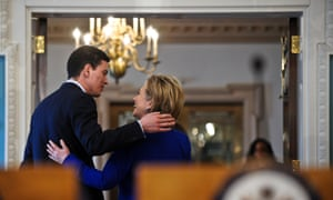 Hillary Clinton chats with her British counterpart, David Miliband, at the state department in Washington on 3 February 2009.