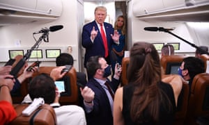Trump speaks to the press on Air Force One on his way back to Washington from Wisconsin. The death toll from Covid-19 in the US is approaching 200,000.