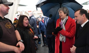 Theresa May meets with farmers as she tours the Royal Welsh Winter Fair at the Royal Welsh Showground in Builth Wells, Powys, in Mid Wales