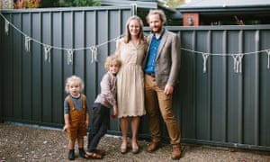 Stephanie and James Dunk with Ira, 3, and Aubrey, 6. They moved to their terrace house in Balmain to be closer to their son's school