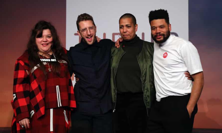 The joint winners, from left: Tai Shani, Lawrence Abu Hamdan, Helen Cammock and Oscar Murillo