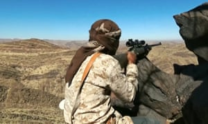 An Isis fighter uses a Steyr Mannlicher sniper rifle in al-Baydaa, Yemen, pictured in April 2016