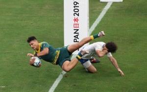 Australia's Jordan Petaia scores.