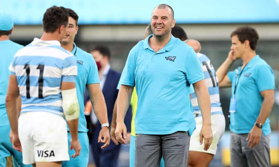 Michael Cheika celebrates after the famous win.