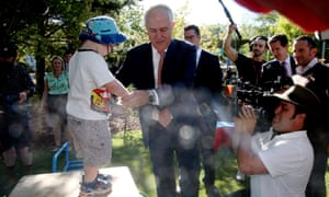 Malcolm Turnbull visits a daycare centre in Canberra on Monday morning