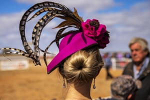 A woman's hat from behind