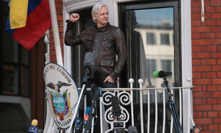 Julian Assange at the embassy in May last year.