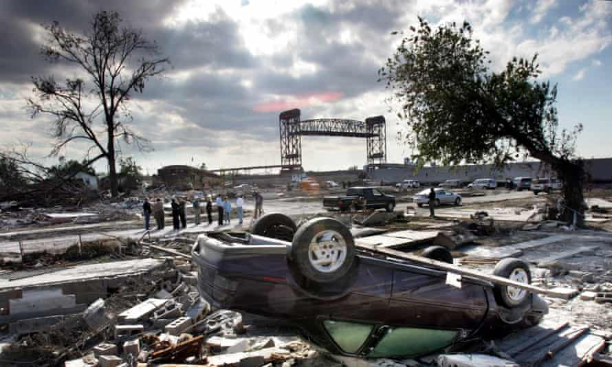 New Orlean's hurricane-ravaged Lower 9th Ward in October 2005, after Hurricane Katrina.